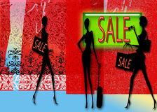 Sale Background. Sale in a shop with women shopping with bags Stock Photography