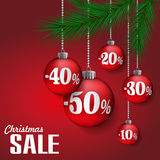 Sale background. Abstract Christmas sale background with red balls. Vector illustration Royalty Free Stock Image