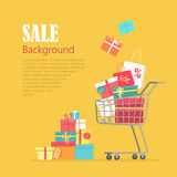 Sale Background. Cart with Gift Boxes, Paper Bags Royalty Free Stock Images