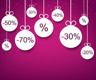 Sale background with christmas balls. Royalty Free Stock Images