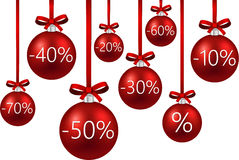 Sale background with christmas balls. Royalty Free Stock Image