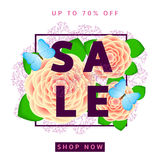 Sale background with colorful flowers. And butterflies Stock Image