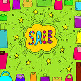 Sale background with doodle paper bags. Cute illustration with text sale and doodle paper bag Stock Image