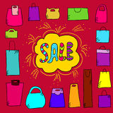 Sale background with doodle paper bags. Cute illustration with text sale and doodle paper bag Royalty Free Stock Photography