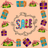 Sale background with gift box Stock Image