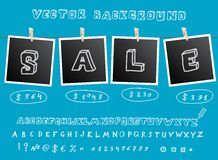 Sale background with hanging images Royalty Free Stock Photo