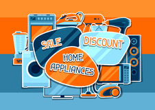 Sale background with home appliances. Household items for shopping and advertising flyer Stock Photography