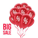 Sale background with red balloons. Sale concept. Stock Photo