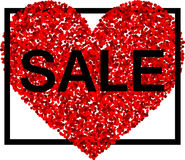 Sale background with red heart. Stock Photos