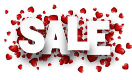 Sale background with red heart. Royalty Free Stock Image