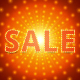 Sale background with retro shining effect Royalty Free Stock Images