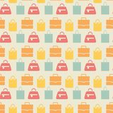 Sale background with shopping bags pattern. Different handbags for shopping. Vector illustration Stock Photography