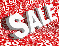 Sale Background. Sale Sign Various White Percentage Signs on Red Background stock illustration