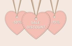 Sale background template, in heart tags . vector illustration