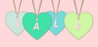 Sale background template, in heart tags . stock illustration