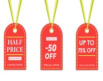 Sale background template, of three different tags . stock illustration