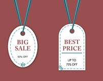 Sale background template, in two different shaped tags . royalty free illustration