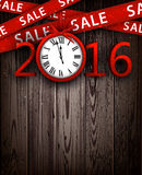 Sale 2016 background. Wooden sale 2016 background with clock. Vector illustration Stock Image