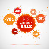 Sale badge, autumn sale label, autumn sale banner.. Vector watercolor banner with ink splashes. SALE autumn poster. Vector illustration. Special offer. Big Stock Image