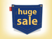 Sale Badge Blue Jeans Pocket Shaped. With yellow stitches vector illustration