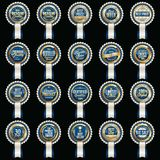 Set of Premium Luxury Blue Badges. Sale Badge. Luxury Sale Badges. Premium Sales Tags. With ribbons stock illustration