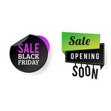 Sale badge stickers percent discount black friday symbols vector illustration. Stock Image
