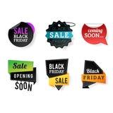Sale badge stickers percent discount black friday symbols vector illustration. Royalty Free Stock Photos