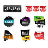 Sale badge stickers percent discount black friday symbols vector illustration. Royalty Free Stock Photo