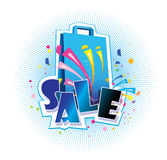 Sale logo with shopping bag. An illustration of a shopping bag with the text 'Sale' on top Stock Images