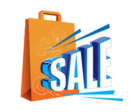 Artistic sale logo. Text 'sale' in uppercase 3D blue and white letters next to yellow carrier (shopping) bag Stock Image