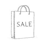 Sale bag, icon. Sketch vector illustration in. Doodle style. This is file of EPS10 format Royalty Free Stock Photo