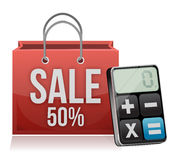 Sale bag and modern calculator Stock Image