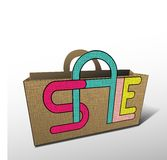 Sale bag for shopping. Bag for shopping sale discount vector illustration Stock Photo