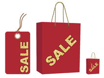 Sale bag and tag set. Isolated on white vector illustration