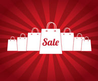 Sale bags. Over red background vector illustration Stock Photo