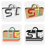 Sale bags for shopping. Bags for shopping sale discount vector illustration Stock Images