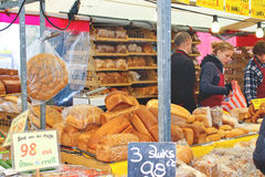 Sale of bakery products on the market  in Delft, Netherlands Stock Photography