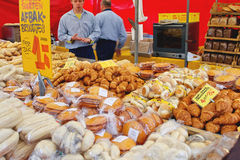 Sale of bakery products on the market  in Delft, Netherlands Royalty Free Stock Image