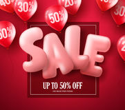 Sale balloon text 3D vector banner design with red balloons element. Flying in red background for store discount promotions. Vector illustration Royalty Free Stock Photo