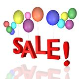 Sale with balloons!. The word SALE in 3D with balloons Royalty Free Stock Images