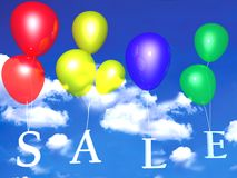 Sale balloons. An illustration of various colored balloons in the sky, holding letters spelling the word sale Stock Photo