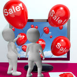 Sale Balloons Coming From Computer Showing Internet Promotion An Stock Photography