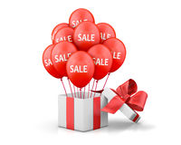 Sale. Balloons With Sale Discounts and with box. Holidays SALE concept background.3d rendering Royalty Free Stock Images
