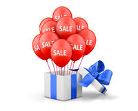 Sale. Balloons With Sale Discounts and with box. Holidays SALE concept background 3d rendering Stock Images