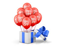 Sale. Balloons With Sale Discounts and with box. Holidays SALE concept background 3d rendering Stock Photo