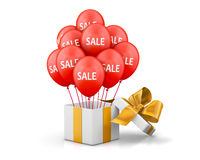 Sale. Balloons With Sale Discounts and with box. Holidays SALE concept background 3d rendering Royalty Free Stock Images