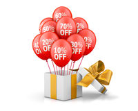 Sale. Balloons With Sale Discounts and with box. Holidays SALE concept background 3d rendering Royalty Free Stock Photo