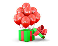 Sale. Balloons With Sale Discounts and with box. Holidays SALE concept background 3d rendering Stock Photography