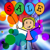 Sale Balloons Indicates Young Woman And Kids Stock Photo