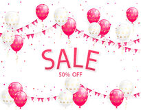 Sale with balloons and pennants Stock Photo